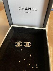 CHANEL Classic Crystal CC Logo Stud Pearl Earrings - NEED REPAIR