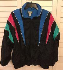 LAVON 1990's Women's Size M Retro Windbreaker Jacket Multi Color Block Vintage