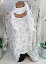 Tunika 2tlg Shirt Bluse Sterne Stars Tuch Weiß Beige Vintage 44 46 48