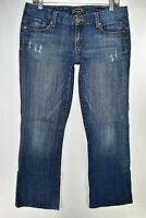 Seven 7 Bootcut Womens Jeans Size 31 Blue Meas. 32x31 Distressed Stretch
