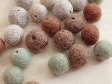 Lot of 25 Felted Felt Wool Beads w hole. 12mm. Mixed Natural Colors. fall brown
