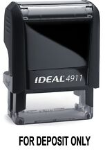 FOR DEPOSIT ONLY text on an IDEAL 4911 Self-inking Rubber Stamp with BLACK INK