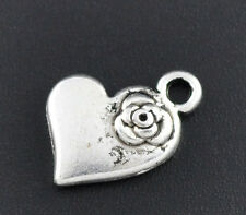 10 Pcs Antique Silver Heart &Flower Charm Pendants 15x11mm LC1758