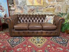 Vintage Chesterfield Leather MORAN 3 Seat Lounge Chair~Australian~Tobacco Brown