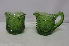 Rare Vintage Indiana Glass Pressed Green Small Miniature Sugar And Creamer Set