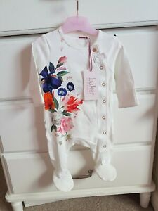 BNWT Ted Baker Baby Girl Floral Sleepsuit Age 0-3mths
