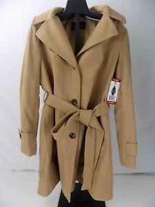 London Fog womens Camel Peacoat coat jacket Wool Blend belted hooded XL