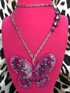 """Luly Lu """"Social Butterfly"""" Vintage Purple Oil Slick Butterfly Swarovski Necklace"""