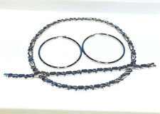 STAINLESS STEEL HUGS & KISSES NECKLACE,BRACELET,EARRING SET(NO TARNISH) HOOPS