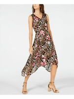 INC Womens Beige Printed Sleeveless V Neck Midi Trapeze Dress Size: 10