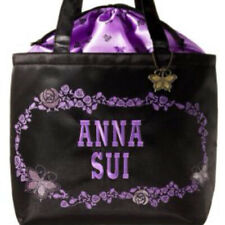 Anna Sui Japan Edition Shoulder Hand Bag Tote Purple Floral Butterfly Charm