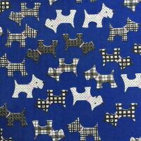 Scottie Dogs * Fabric Scottish Terrier * Polycotton * Westies in 4 Colour Ways