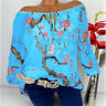 Womens Off Shoulder Floral Tops Ladies Bardot Loose T Shirt Blouse Plus Size Hot