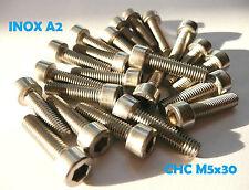 VIS CHC BTR INOX A2 M5 x 30 mm 6 PANS CREUX DIN912 (lot de 16 vis)