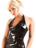 Honour Women's Halter Neck Top Shirt in PVC Black Fetish Harlot Design