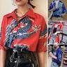 Mens Dragon Printed Chinese Style Shirts Kung Fu Short Sleeve Button Down Shirts