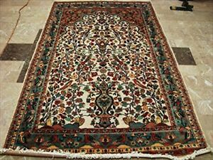 Tree of Life Area Rug Room Decorative Mat Hand Knotted Wool Silk Carpet (5 x 8)'