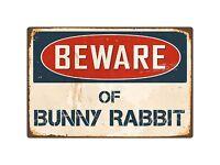 "Beware Of Bunny Rabbit 8"" x 12"" Vintage Aluminum Retro Metal Sign VS087"