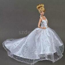 Wedding Gown Clothes for Barbie Dolls White Sequin Trailing Evening Dress
