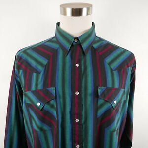 VTG Ely Cattleman Mens LS Snap Button Up Dark Striped Western Rodeo Shirt XLT