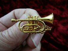 (M-204-A) Boosey & Hawkes CORNET tac pin JEWELRY 24k gold plate Besson Sovereign