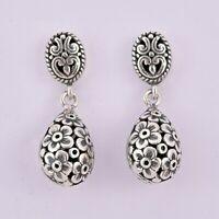 BALI DANGLE STUDS FLOWER Earrings in SOLID 925 Sterling Silver - 6.1 gms #O06