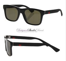 f11307871ef Gucci Sunglasses GG0008 001 Black Rectangle Frame Wayfare Grey Lens Red  Green
