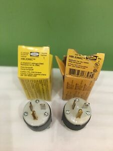 LOT OF 2 NEW HUBBELL HBL5366C PLUGS  STRAIGHT BLADE 20A 125 V SHIPS FREE