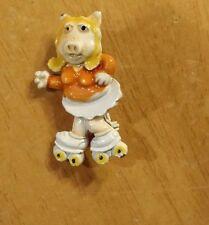 Vintage Enameled roller skating Miss Piggy Muppet Figure Pin Brooch