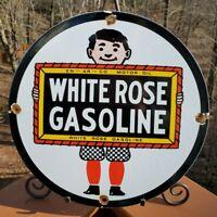 VINTAGE WHITE ROSE ENARCO GASOLINE STATION PORCELAIN METAL SIGN GAS OIL