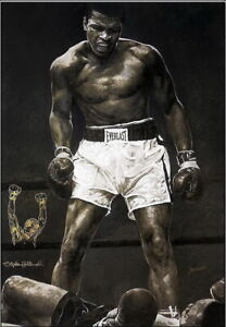 Stephen Holland Deluxe Giclee On Canvas w/ Original Drawing Muhammad Ali Signed