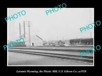 OLD LARGE HISTORIC PHOTO OF LARAMIE WYOMING, THE PLASTIC MILL FACTORY c1928