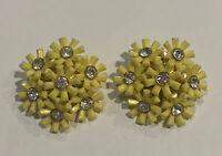 Vintage Yellow Plastic Crystal Rhinestone Flower Cluster Clip Earrings Gold Tone