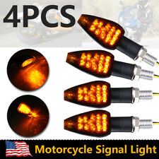 4X Motorcycle Black 14 LED Turn Signal Indicators Blinker Amber light universal