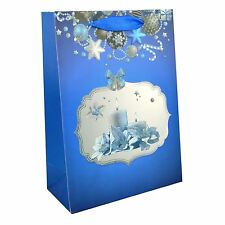 1 x Small Luxurious Christmas Gift Bag -Blue- Decorative with Glitter Paper Bag