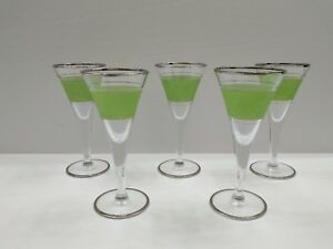 Set of 5 Cordial / Liquior Glasses Green and Clear Cocktail Glasses w/Silver Rim
