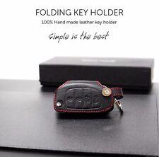 Red Stitch Folding key Leather Holder Case For Hyundai Santa Fe Sports 2013 2014