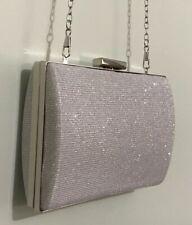 Silver Elegant Wedding Shiny Sparkle Beaded Evening Clutch Bag NWT $70
