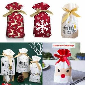 5/25X Large Christmas Gift Bags Drawstring Wrap Present Party Bags Storage UK