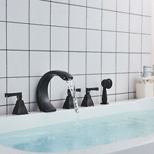 BWE Waterfall Oil Rubbed Bronze Bathroom Tub Sink Faucet Commercial Deck Mounted
