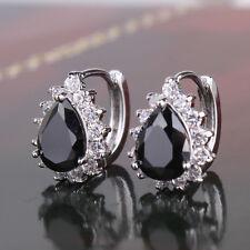 Women 18K Silver Gold Filled Pear Black Sapphire Crystal Huggie Stud Earrings