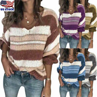 Womens Striped Knitted Sweater Tops Long Sleeve V Neck Loose Jumper Pullover US