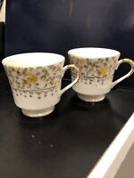2-Choice Imports Tea Cups Japan Yellow Rose Gold Accents No Flaws