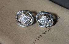 David Yurman 925 Silver Pave' White Topaz INFINITY Earrings Customer Return EUC