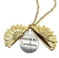 """UK You Are My Sunshine Open Locket Fashion 18"""" Pendant Necklace Gold Sunflower"""