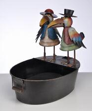 Metal Pair Of Colour Raven Birds Sculpture Water Fountain Feature