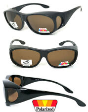 POLARIZED Cover Put Fit over Sunglasses wear Rx glass Fit Driving Brown Lens