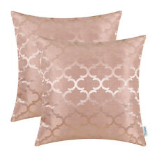 "2Pcs Dusty Pink Cushion Covers Pillows Shells Accent Geometric Home Decor 18x18"""