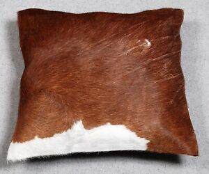 NEW COWHIDE LEATHER CUSHION COVER RUG COW HIDE HAIR ON CUSHION E-2467