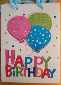 Happy Birthday Gift Bags, Lot Of 3, Pink/blue/green